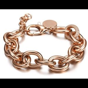 Jewelry - Rose gold plated Cuban link bracelet & CZ link